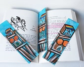 3-Set Hand Painted Lady Robot Pride Superpower Original Bookmarks