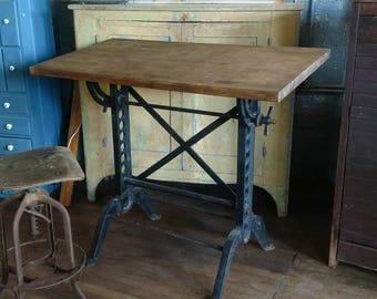 Rare 1890s Cast Iron Drafting Table Esser Post Industrial Loft Study Art