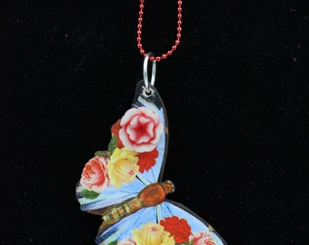 Red Butterfly Wood Pendant Necklace