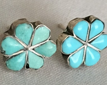 Vintage Southwest Navajo Turquoise & Sterling Silver Pierced Earrings