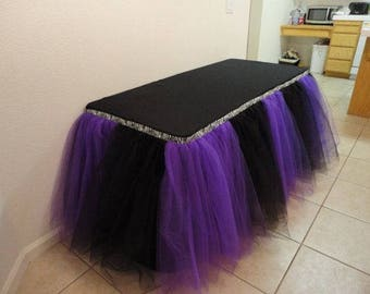 8 ft Black/Purple Tulle Table Skirting Wedding Birthday Baby Shower Party Decoration