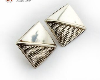 Square Half Relief Hollow Post Earrings Sterling Silver