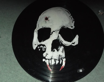 gothic, vampire skull, horror, painted 12ins  vinyl disc,ready to hang, hand painted by seller