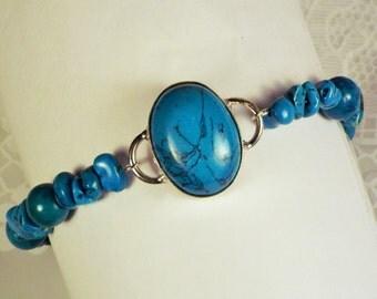 "Cynthia Lynn 'SAN JOSE"" Blue Green Turquoise Beaded Silver Bracelet"