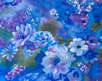 Vintage Colourful blue floral Swiss cotton voile fabric
