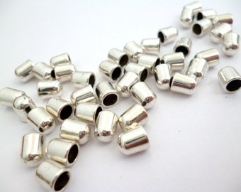Silver Shiny End Cap Without Loop_R9874654654BP_End_Metal Beads_Without loop_Of 8x6 mm hole 4 mm_pack 50 pcs