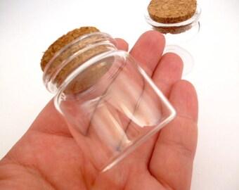 Glass Bottle Terrarium_ANT86186250113071_Jar Vial Charm Pendant _Glass bottle with corc top _of 37x40 mm_ pack 1 pcs