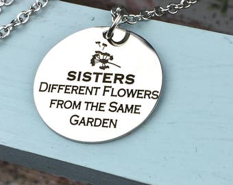 Engraved Sisters from a Different Garden necklace