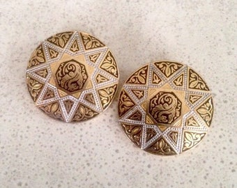 "Clip Earrings - Vintage Damascene Clip On Earrings - 1-1/8"" Dia - Excellent Vintage Condition - Marked Spain"