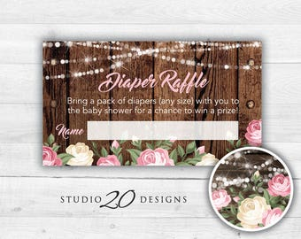 Instant Download String Lights Baby Shower Diaper Raffle, Printable Ivory Pink Roses Diaper Raffle Prize Drawing, Rustic Diaper Raffle 95A