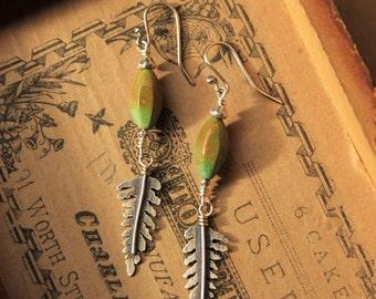Turquoise & Sterling Silver Fern Cutout Dangily Earrings
