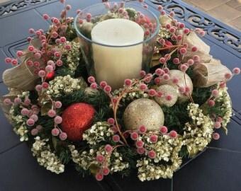 Floral Centerpiece, Christmas Centerpiece, Table Centerpiece & Candle, Holiday Centerpiece, Floral Candle Centerpiece, Christmas Decor