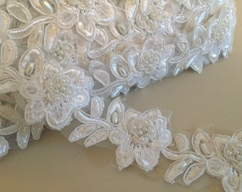 Wedding gown, bride Ivory Embroidered Floral Lace Trim - wedding dress, hair accessory or veil.