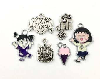 6 happy birthdaycharms collection antique silver and enamel,19mm to 36mm  # ENS A 037