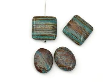 4 aqua stripe jasper square puff stone beads /  20mm #PP 359