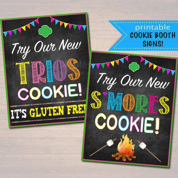 printable girl scouts cookie booth signs s mores and
