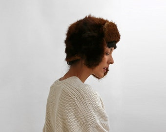 Russian Rabbit Fur Bomber Hat, Trapper Fur Hat with Earflaps, Women Winter Hat / Size Small