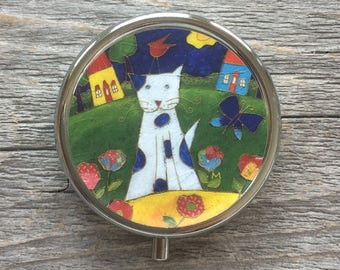 Pill box, Cat, Gift for her, Trinket Box Storage, Medical Pills Storage