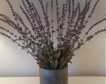 Silk Floral Arrangement Lavender Stems in Corrugated Metal Container