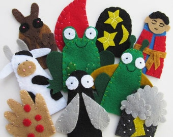 10 Plagues Finger Puppets for Passover Set of Children's Felt Puppets Biblical Bible Story Puppets