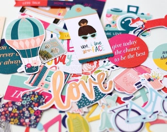 Dear Lizzy Lovely Day Cardstock Die-Cuts Ephemera With Rose Gold Foil Accents