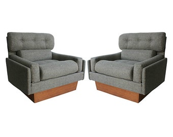 Pearsall-Style Plinth Club Chairs, Pair