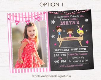 Gymnastics Birthday Invitation, Gymnastics birthday Party Invite DIGITAL FILE