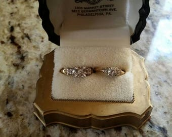 14K gold diamond wedding set of 2 in case 1950s