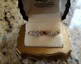 14K gold diamond wedding set of 2 in case 1950s