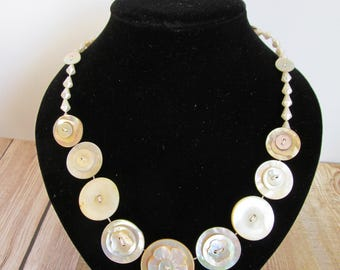 Button Necklace Mother of Pearl Button Necklace  Retro Vintage