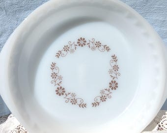Pyrorey White with Brown Flowered Pie Plate, Pyr-o-Rey, Milk Glass with Brown Flowers