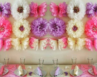 "one  14inch"" one butterfly flower wedding party babyshower bedroom wall flowers ( i can do these in any colours)"