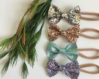 Baby girl hair bows on headband, nylon headband, bows on hair clips, sequins style