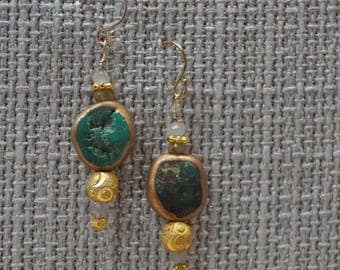 Turquoise wrapped in copper drop earrings with rutilated quartz