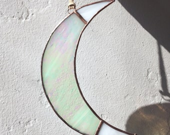 Stained Glass Tipped Crescent Moon Sun Catcher Window Hanging