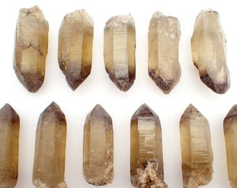 "ONE Quartz crystal from Graham Co., Arizona, USA - 40-50mm or appx. 2"" / appx. 15gm each - smoky citrine natural raw stone point"