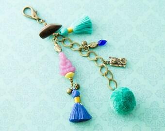 Bohemian Tassel Pom Pom Buddha Maneki Neko Bag Handbag Purse Charm