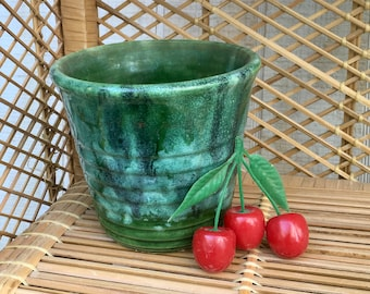 Vintage Green Ceramic Flower Pot