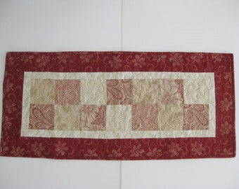 "Quilted Table Runner, Red Patchwork Table Runner, 14 1/2"" X 32'"