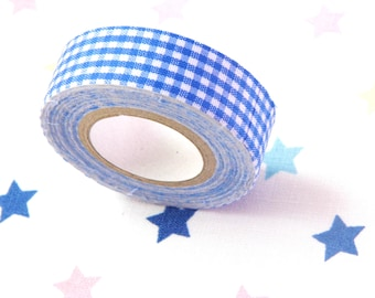 Vichy textile tape, Washi tape, blue vichy design ,crafting and decorating, textile tape