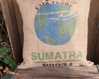 Recycled Coffee Bag Pillow, Earth, Sumatra