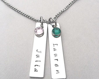 Mother's Name Necklace - Mother's Birthstone Necklace - Mother's Tag Necklace - Child's Name Necklace - Mother's Day Gift