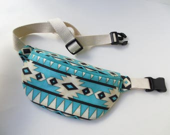 Southwestern Print Fanny Pack - Turquoise and Off-White