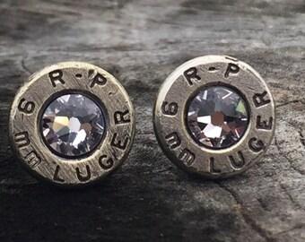 9mm SILVER Stud Earrings- Bullet Casing