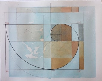 Fibonacci Spiral with an Acer Palmatum leaf,modern watercolor,watercolor design,watercolor painting,mnodern watercolor,golden ratio