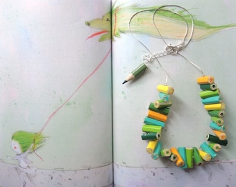 Wooden necklace with yellow and green colored pencils