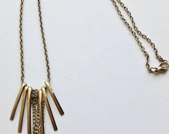 Vintage Minimalist Golden Charm Necklace, Tassel Charm Necklace, Long Boho Style Necklace, Boho Chic Necklace, Bohemian Style Necklace