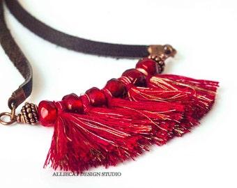 Bohemian Necklace   Boho Necklace   Gypsy Red Tassel Necklace
