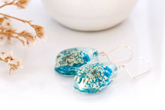 Queen Annes Lace flower earrings - teardrop-  Blue pressed Flower, victorian jewelry, resin, dry flowers, botanical