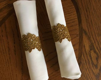 Gold lace napkin rings (set of 4)